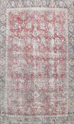 All-over Semi Antique Tebriz Distressed Area Rug Floral Hand-knotted Wool 9and039x12and039
