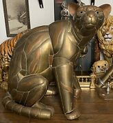 Vintage Sergio Bustamante Style Panther Copper And Brass Sculpture 33x31x23andrdquo