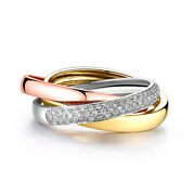 10k Rose Gold And White Gold And Yellow Gold Diamonds Luxurious Fashion Unisex Ring
