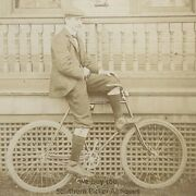 Cabinet Card, Proud, Fashionable And Handsome Cyclist, On Bicycle, Barometer