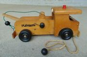 Antique Vintage 1950's Wood Wooden Child Playskool Emergency Tow Truck Pull Toy