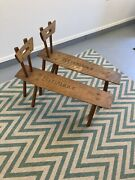 Pair Of Vintage Straddle Benches Entryway Bench Wood Carved Cobbler Rustic