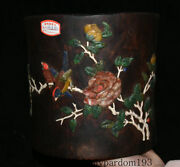 8.4 Antique China Dynasty Huanghuali Wood Inlay Shell Flower Birds Brush Pot