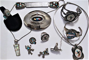 Vintage Zuni Old Pawn Sterling Silver Inlaid Turquoise Coral Native Jewelry Lot