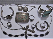 Navajo Old Pawn Sterling Silver Turquoise Coral Jasper Onyx Native Jewelry Lot