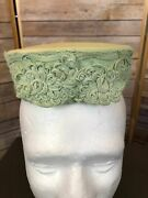 Vintage Lane Women's Lime Green Laced Sides Pill Box Hat With 2 Hair Clips 17