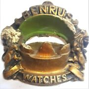 Antique Benrus Watches Gold Lions Mouth Architectural Store Counter Display Rare