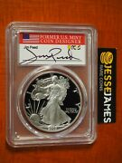 2003 W Proof Silver Eagle Pcgs Pr70 Dcam Jim Peed Hand Signed Flag Label