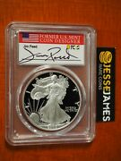 2005 W Proof Silver Eagle Pcgs Pr70 Dcam Jim Peed Hand Signed Flag Label