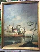 Antique 19th Century Italian Seascape Oil On Canvas Stamped Back Made In Italy