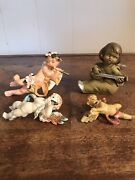 Vintage Angel Figurines Ornaments Wall Decor Italy Antique Lot Of 4 Christmas