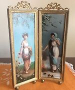 Antique Small Decorating Screen Featuring Two Ladies Summer And Winter