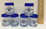 Corazon Tequila Shot Glasses Shooters Clear Glass Set 6 Hand Blown Cobalt Blue