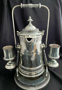 Reed And Barton Silver Plate Tilting Tipping Pitcher Cooler Jug And 2 Goblets 145