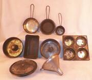 Childs Tin Cookware Bakeware Lot Toy Casserole Baking Frying Pans Funnel Vintage