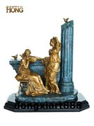 35 Cm Art Deco Sculpture Two Belle Relaxation Bronze Marble Household Statue