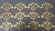 Twelve Antique Brass Drawer Handle Backplates 5 With Keyholes Ml413