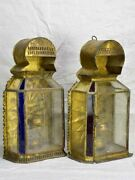 Two Antique Gold Red And Blue Wall Lanterns 18andfrac12
