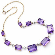 Vintage 14k Yellow Gold 48.59 Tcw Amethyst And 2.0 Tcw Diamond Link Necklace + Box