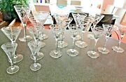 17 Antique Cut Glass Etched Crystal Glasses 1 Wine, 7 Martini, 7 Cordial, 2 Shot