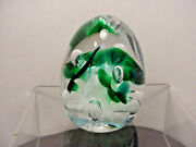 Gibson Paperweight 1995 Green And White Trumpet Flowers Bubbles Egg Shape