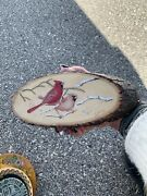 Hand Painted Natural Wood Bark Cardinals Wall Plaquerusticsigned Numbered