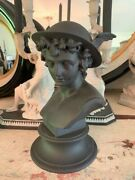 Rare Wedgwood Black Basalt Jasperware Mercury Winged Bust Statue Figure