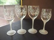 2 Water Glasses 2 Wine Goblets Avon Lead Crystal Hummingbird Flower Etch Frosted