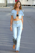 Runway Denim Jeans With Cc Strass Crystals Size Fr 40 2840