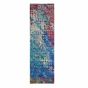 3'x10'1 The Peacock, Sari Silk Colorful Runner Hand Knotted Oriental Rug R59241