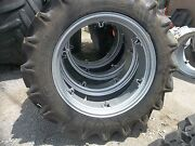 Two 11.2x28 11.2-28 8ply R1 Tractor Tires W/ 6 Loop Wheels