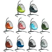 1-person Wicker Folding Collapsible Outdoor Hanging Egg Swing Chair Andndash 10 Colors