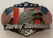 Harley Davidson Usa Screaming Eagle And American Flags Gently Used Belt Buckle