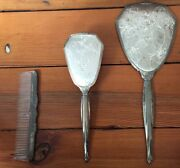 Vtg 1900 Antique Victorian Silverplated Floral Brush Comb Hand Mirror Vanity Set