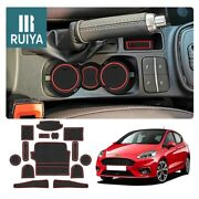 Ruiya Car Door Slot Mats Console Liner Accessories Red For 2018 Ford Fiesta Mk8
