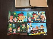 Disney Jake And The Never Land Pirates Wood Puzzle Lot Of 4 In Box