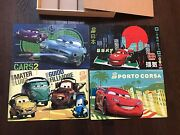 Disney Cars 2 Wood Puzzle Lot Of 4 In Storage Box