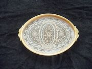 Vintage Celluloid Vanity Tray - Glass Covered Victorian Needlework Lace