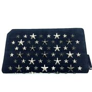 Unused Jimmy Choo Star Studs Zip Around Long Wallet With Coin Compartment Navy