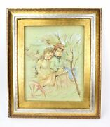 Vintage Oil Painting Handsome Young Couple In Circus Wagon By Vitti Giovanni