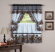 Complete Window Kitchen Cottage Curtain Set With Tier Panels Top Swag Tiebacks
