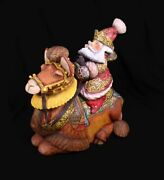 Magnificent Russian Santa Hand Carved And Painted On A Camel