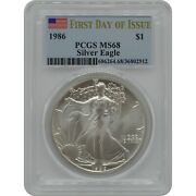 1986 American Silver Eagle Pcgs Ms68 First Day Of Issue Pop Is 1 W/certificate