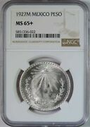 1927 M Mexico Silver 1 One Peso Coin Ngc Graded Ms65+ Plus Gem Uncirculated