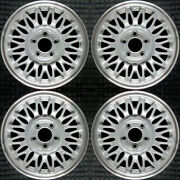 Lincoln Town Car Machined Lip W/ Silver Spokes 15 Oem Wheel Set 1993 To 1997