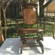 Antique Oak Gliding Rocking Chair Cane Back And Seat