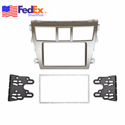 Silver Double Din Stereo Car Radio Dash Frame Panel Mount For Toyota Yaris 07-12