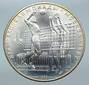 1980 Moscow Summer Olympics 1979 Vintage Volleyball Silver 10 Ruble Coin I86144