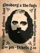 Rare. Signed Allen Ginsberg Fugs Poster For Levy/lowell Defense Fund. 1967 Clev