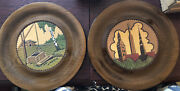 2 Vtg Eo Wooden Wood Hand Painted Decorative Tray Plate Leather Center